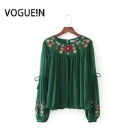 VOGUEIN New Womens Floral Embroidered Sleeve Neckline Dotted Mesh Tassels Green Blouse Tops Shirt Wholesale