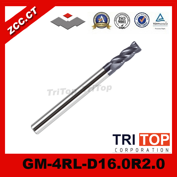 ZCC.CT  GM-4RL-D16.0R2.0  high quality 4-flute Carbide Corner Radius End Mills with long straight shank