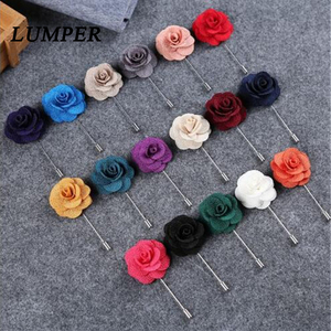 LUMPER New Lapel 17 colors Flower Daisy Handmade Boutonniere Stick Brooch Pin Men Cool Beautiful Accessories in Party Wedding 08(China)