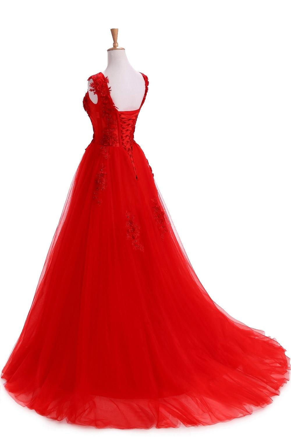 Robe De Soirée Rouge Robes De Soirée Longues Plus La Taille Tulle - Habillez-vous pour des occasions spéciales - Photo 4
