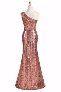 Image 2 - Świecące sukienki druhen długie cekiny 2020 różowe złoto wino czerwone niebieskie jedno ramię kolorowe Vestidos De Madrinha De Casamento