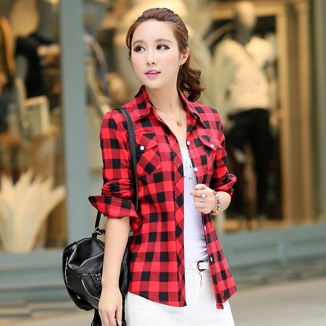 women blouse 2015 korean 100% cotton long sleeve red plaid shirt women  casual Slim camisa feminina xadrez Blouses Female M60119 7f311791135f