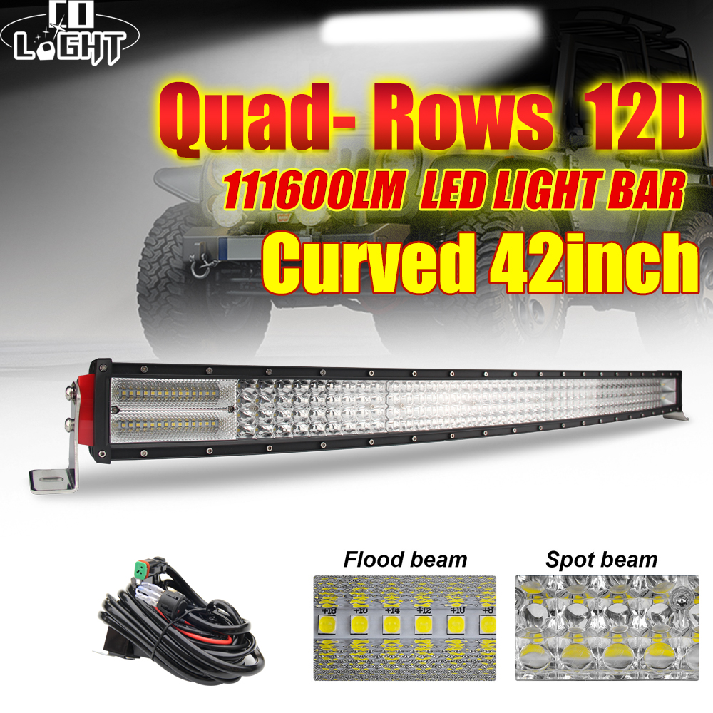 """CO LIGHT 42"""" Curved LED Light Bar 12D 744W Combo Beam Quad Rows Led Work Light for Jeep SUV ATV PickUp Truck Led Bar Offroad 12V-in Light Bar/Work Light from Automobiles & Motorcycles"""