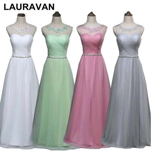 ff7313972d US $57.3 |modest simple elegant blush bridesmaid ball gown long tulle dress  light green for wedding party free shipping under 100-in Bridesmaid ...