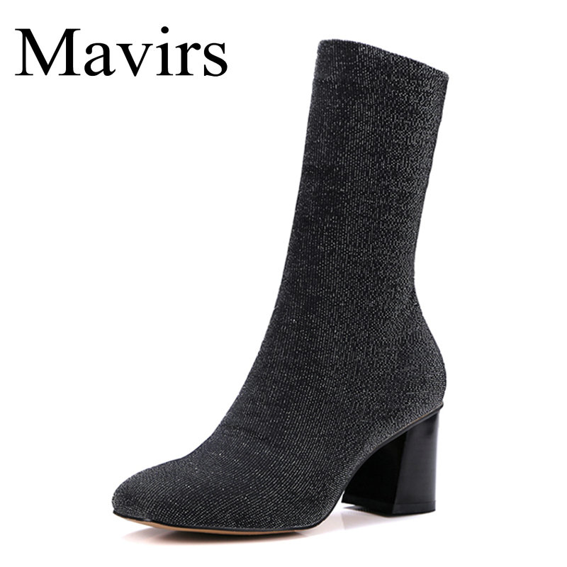 Mavirs Brand Black Sock Boots Chunky High Heels Ankle Boots For Women Sexy Booties Pointed Toe Elastic Stretch US Size 4-10 mavirs brand women ankle boots 2018 pointed toe matt 4 75 inches chunky high heels black gray gold white shoes us size 5 15