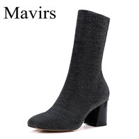Mavirs Brand Black Sock Boots Chunky High Heels Ankle Boots For Women Sexy Booties Pointed Toe