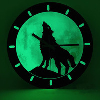 Wooden Wall Clock Modern Design for Bedroom Wolf Animal Theme Hanging Clocks with Luminous Wood Wall Watch Home Decor Silent