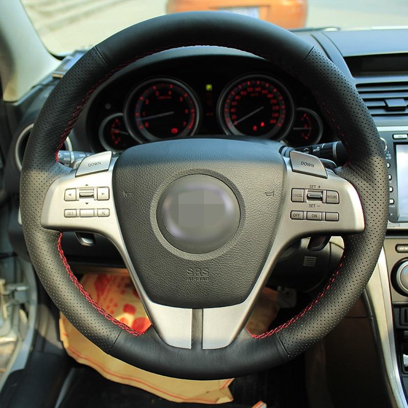 Särav nisu Käsitsi õmmeldud must nahast roolikate vana Mazda 6 - Auto salongi tarvikud - Foto 3