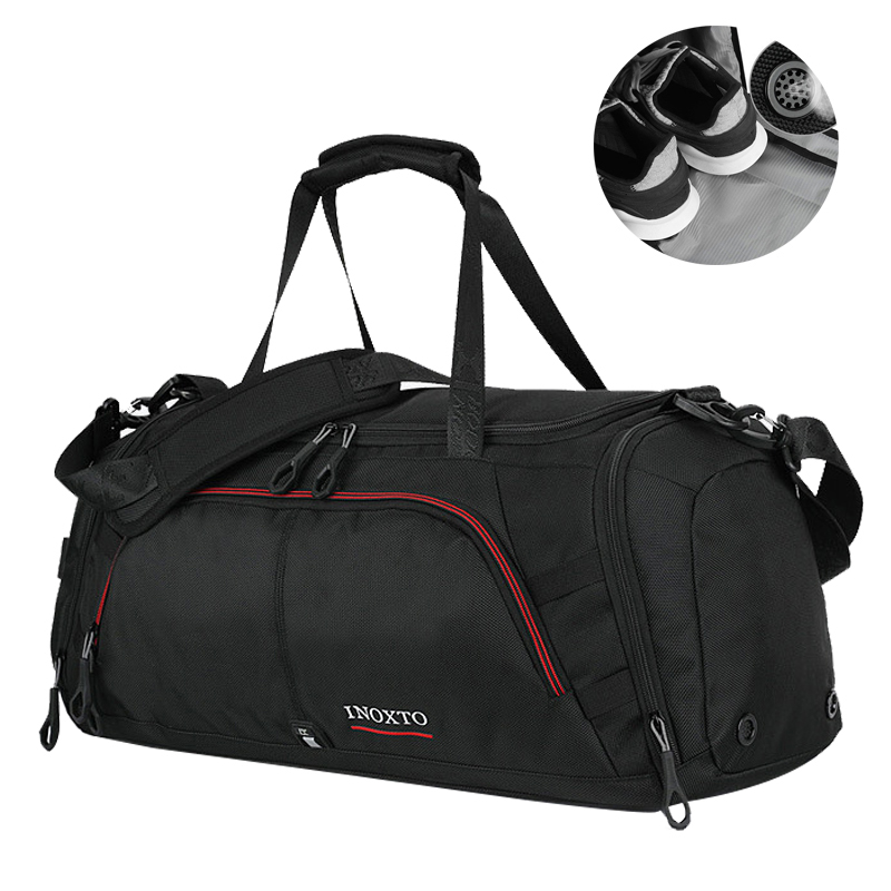 Outdoor Men Large Training Sports Bag Gym Bag with Shoes Pocket Duffel Tote Travel Backp ...