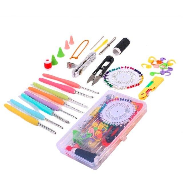 7 Arten Stricken Tools Kit Set Häkelnadeln Nadeln Stiche Schere Pins ...