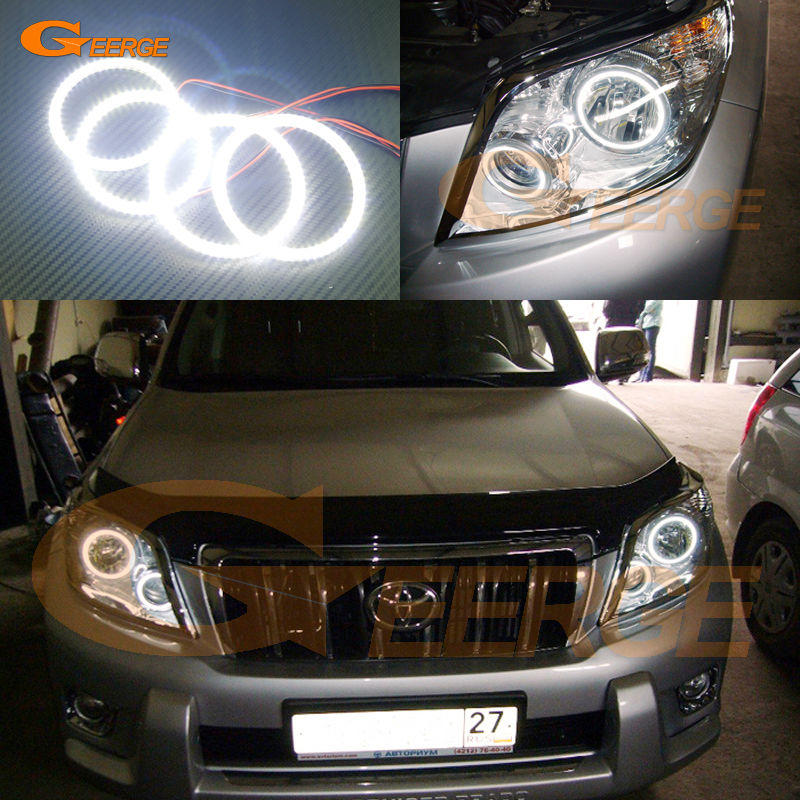 цена на For Toyota Land Cruiser Prado J150 150 2010 2011 2012 Excellent led Angel Eyes Ultra bright smd led Angel Eyes Halo Ring kit