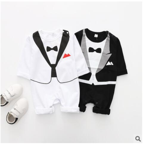 Autumn Long Sleeve Baby Cotton   Rompers   3-18Month Babies jumpsuits 1piece overall bebe roupas baby boy gentleman clothing costume