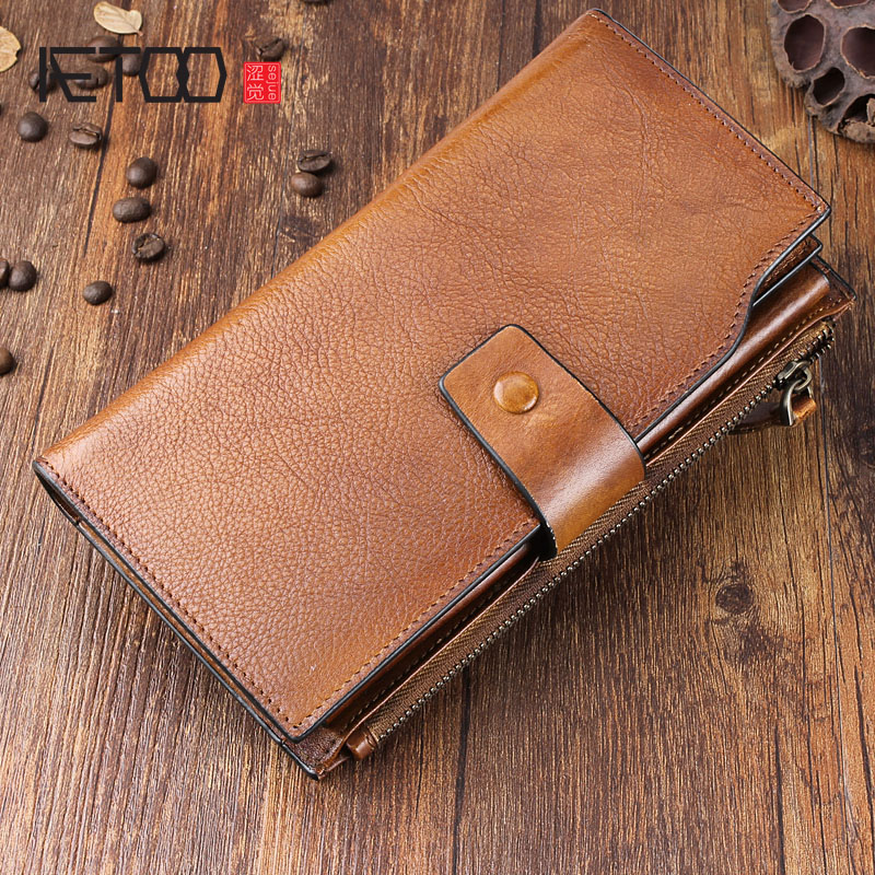 AETOO Original handmade leather long wallet retro old multi-card bit men's handbags leather multi-function buckle makeup brushes set tool 18 15pcs brushes