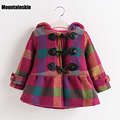 New Girls Winter Plaid Trench Coats Single-Breasted Hooded Jackets British Style Kids Woolen Coats Girls Brand Windbreaker SC730