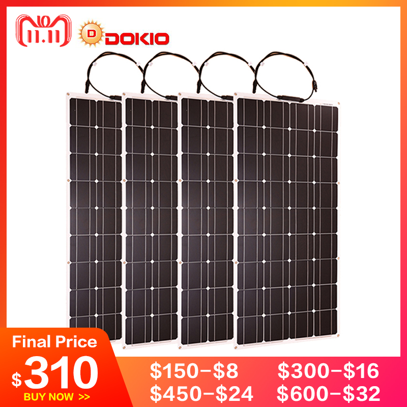 Dokio Flexible Solar Panel 100W Monocrystalline Solar Cell 200w 400w 600w 800W 1000W Solar Panel Kit For RV/Boat/Home system boguang portable solar panel kit 100w diy rv boat solar plate system flexible solar panel controller cable outdoor light led