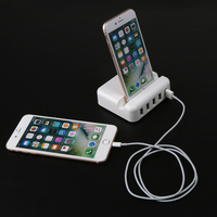 New 5Port USB HUB Mobilephone Charger Stand With EU Plug Power Adapter Rapid Charging Station Desktop