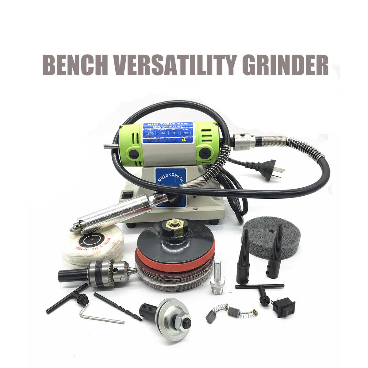 Mini Bench Grinder Electric Versatility Grinding Machine 4mm Chuck Variable Speed Rotary Tool With Flexible Tube Power Tools
