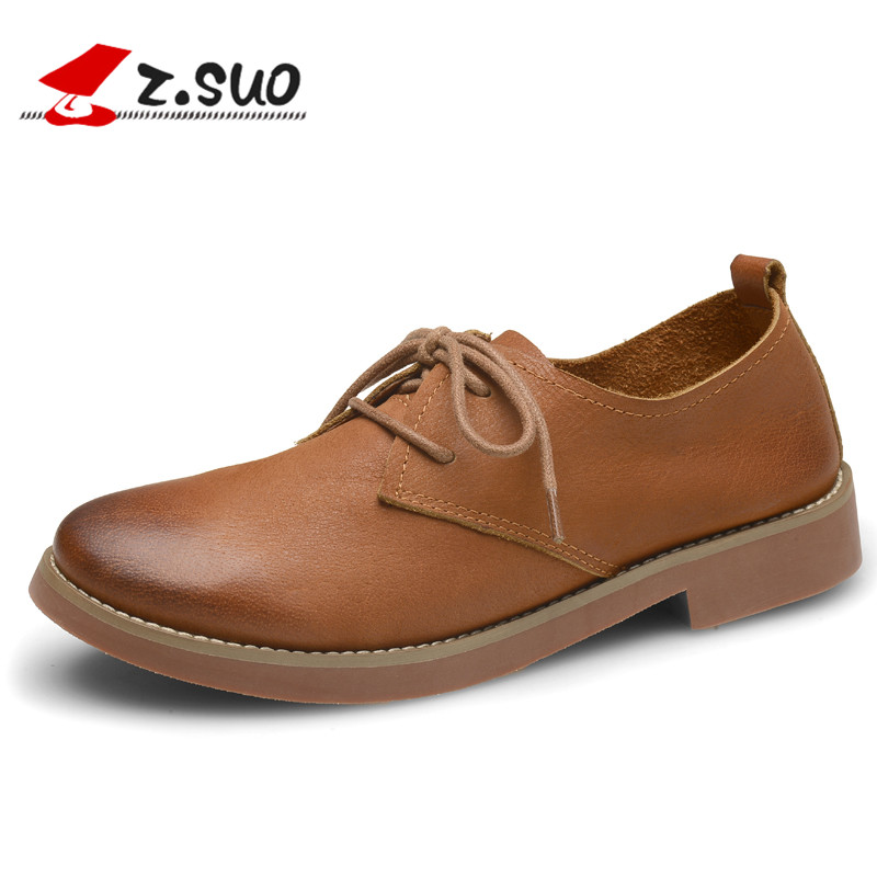 Z.Suo Autumn  Winter Women's Casual Shoes Breathable Cow Leather Shoes Lace-up Wear-Resistance soles ladies moccasins ZS18100N 2017 simple common projects breathable lace up handmade leather shoes casual leather shoes party shoes men winter shoes