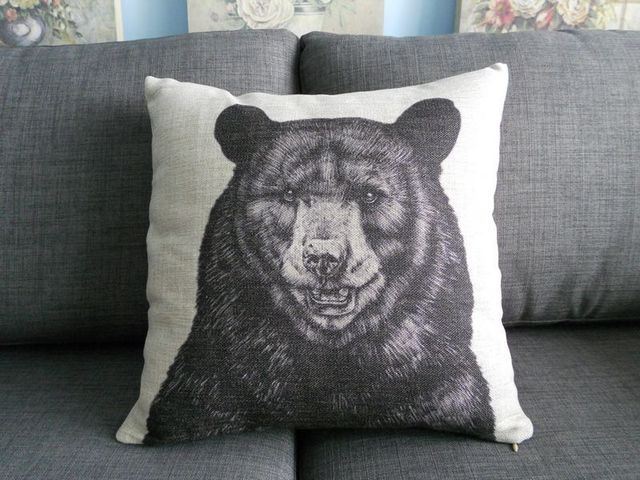 Aliexpress.com : Buy Vintage Animal Pattern Cushion Cover Black Bear Throw Pillow Case Linen ...