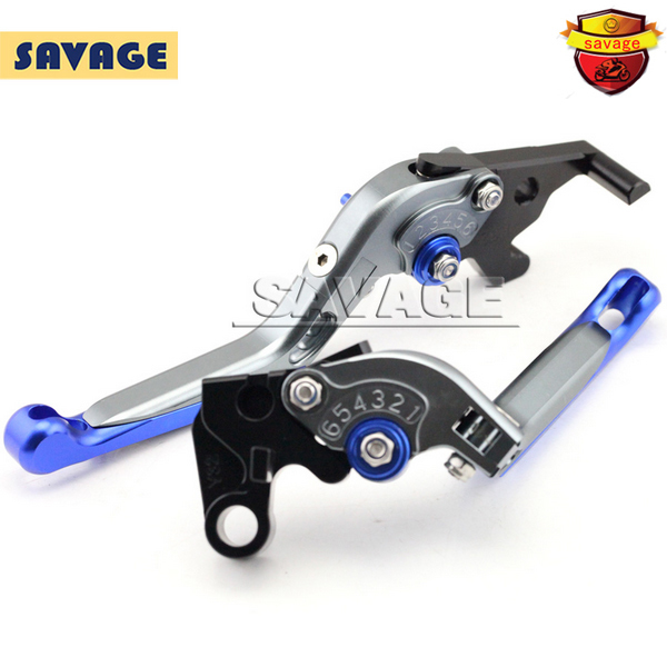 For YAMAHA YZF-R25 YZF-R3 YZF R25 R3 Motorcycle Accessories CNC Adjuster Folding Extendable Brake Clutch Levers Blue+Titanium