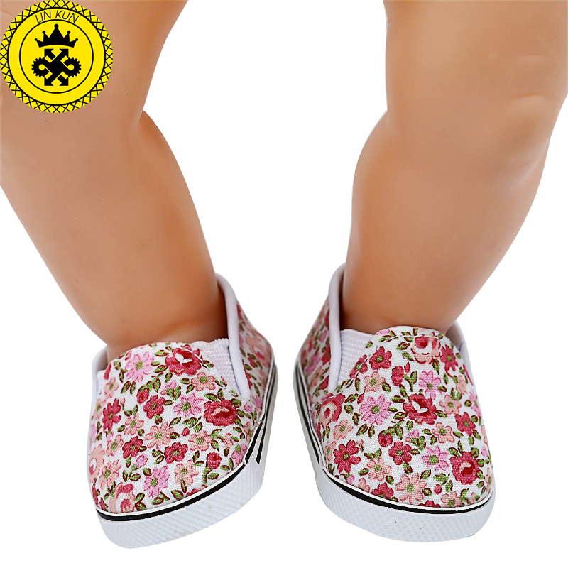 Doll Shoes Cute Printed Canvas Shoes Fit 43cm Zapf Baby Born Doll and 18 inch American Girl Doll Accessories BJD Doll 628 cheap price baby born zapf doll accessories doll shoes fit 43cm baby born zapf doll ds30