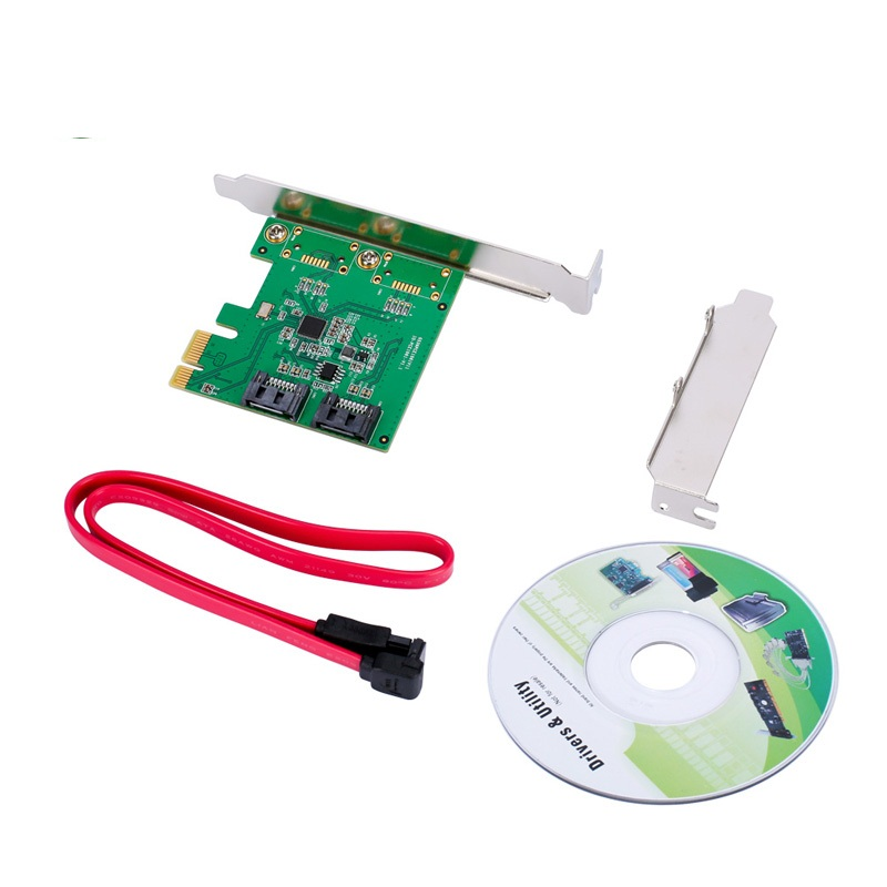 2 Port SATA III PCI-e 2.0 X1 RAID Card Controller Board With Low Profile Bracket