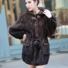 2016 new Genuine Natural women s real Knitted Mink Fur long Coat with Hoody slim Winter