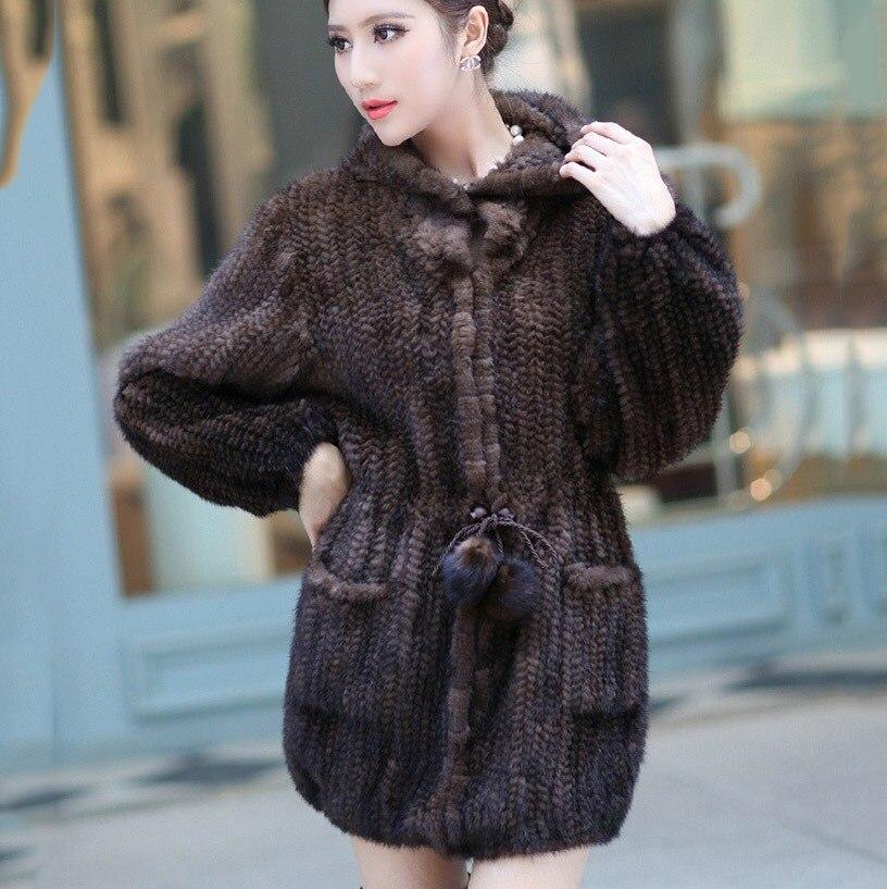 2018 Новое натуральное женское натуральное вязаное Норковое длинное пальто с капюшоном Тонкая зимняя меховая куртка верхняя одежда плюс раз