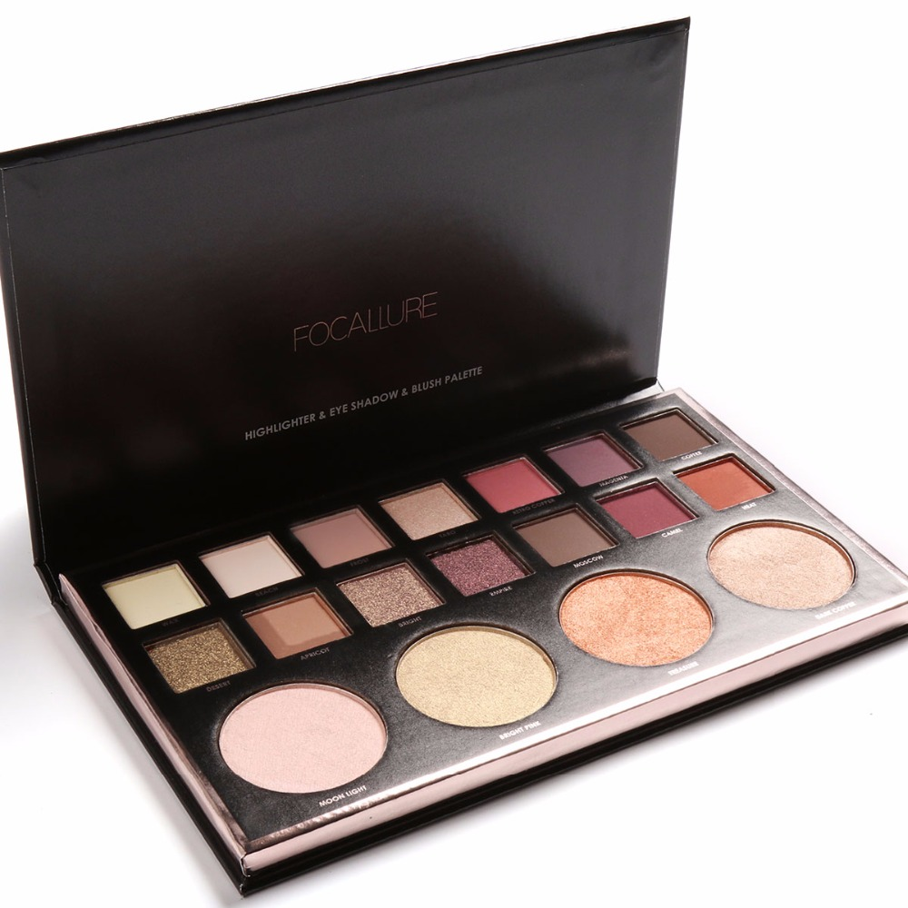 Focallure 4Colors Highlighter&14Colors Eye shadow Makeup Palette 6pc/lot Shimmer Glitter Eyeshadow Face Contouring illuminator цены онлайн
