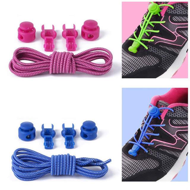 diseño innovador f42c7 ef5bf 1 par de cordones de zapatos Unsiex sin lazo Cierre de cordones de zapatos  redondos zapatillas de cordones de zapatos para niños y niñas venta al por  ...
