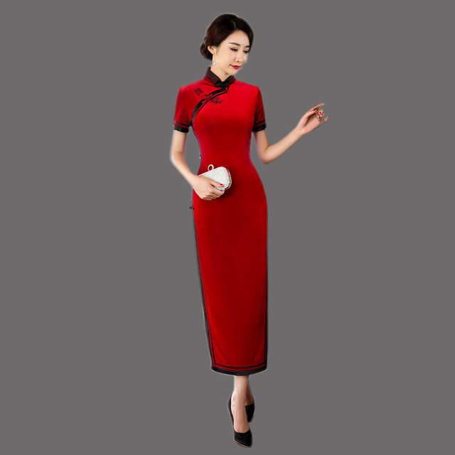 609e81e97f US $45.7 15% OFF|Chinese Traditional Dress Red Velvet Cheongsam Long Qipao  Dresses Vestido Oriental Evening Gown Robe Chinoise Tradition Qi Pao-in ...