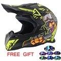 Высокое Качество Мотоциклетный шлем Защитные capacete мотоцикл для Женщин и Мужчин бездорожью мотокросс Шлемы Бесплатно Googles