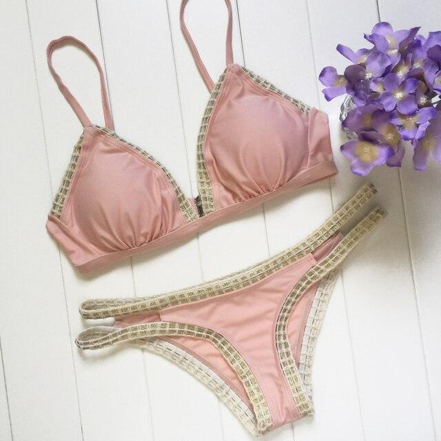 Sexy Women Bandage Lace Crochet Triangle Bikini Set Push Up Bra Swimwear Swimsuit Hot Bath Biquini Pink Two-Piece Suits 2