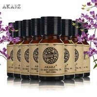 AKARZ face body skin care value sets Lotus+Patchouli+Castor+Argan+Frangipani+Musk+Rose+Tea Tree essential Oils 10ml*8