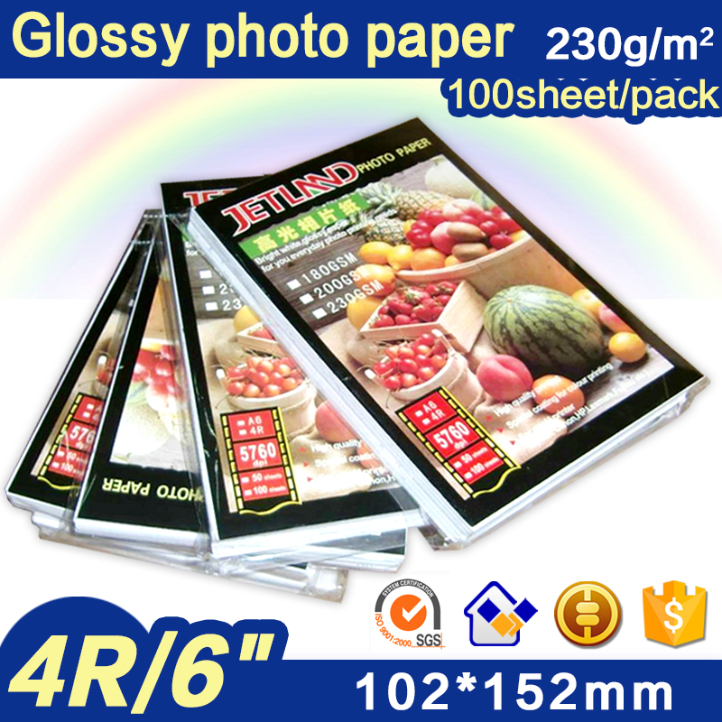 Jetland Inkjet Photo Paper 4x6 Inches, 100 Sheets (230gsm)  4R(A6) High Glossy Imaging Printing Paper