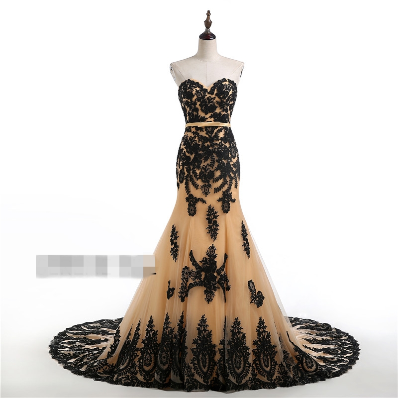 Mermaid Black Gold Gothic Wedding Dresses 2017 Sweetheart Lace Up Tulle Colorful Gowns Non White Robe De Mariee In From