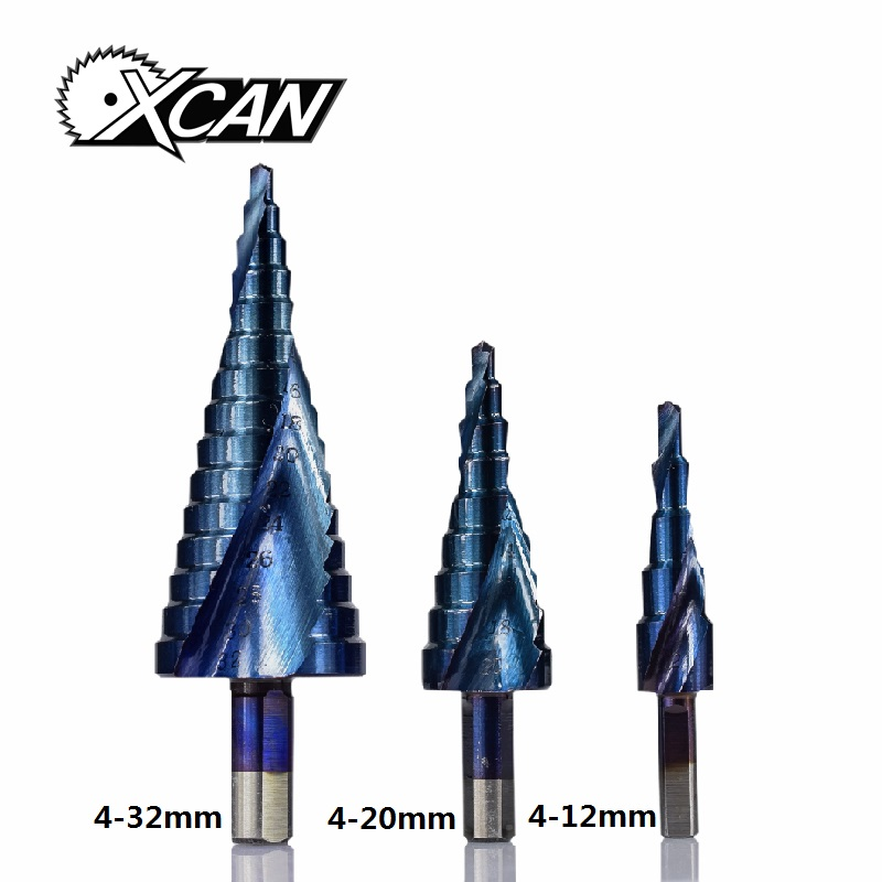 XCAN 3PCS 4-12/20/32mm HSS Spiral Grooved Center Solid Carbide Drill Bit P6M5 Super Blue Nano Coating Step Cone Drill Bit