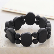 Fashion Real Black Natural Stone Bian Bracelet byanshi For Men&Women 16mm Beaded Big stone bianshi