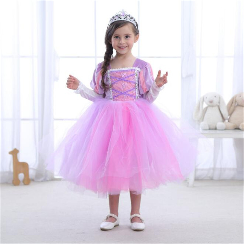 Children Autumn Long Hair Princess Dress Sofia Dresses Kids Girls Dress Halloween Costume Princess Christmas Party Dresses 4-10Y girls dresses trolls poppy cosplay costume dress for girl poppy dress streetwear halloween clothes kids fancy dresses trolls wig