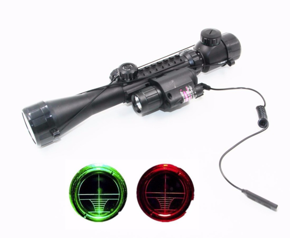 Tactical 3-9X40EG Rifle Scope Telescopic Sights with 20mm Weaver Rail M6 Red Laser Sight + LED Flashlight for Airsoft Hunting xl nxf rg 5mw green laser gun sight w weaver mount led flashlight black 3 x cr 1 3n