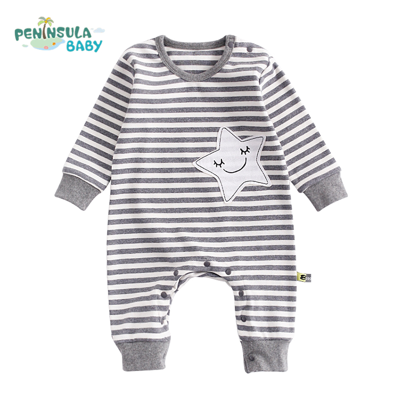 Autumn Baby Rompers Boy Girls Long Sleeves Toddler Striped Embroidery Star Cotton Clothing Newborn Baby Costume Infant Products baby rompers winter star patter long sleeve jumpsuits infant boys girls clothes newborn toddler costume children autumn clothing