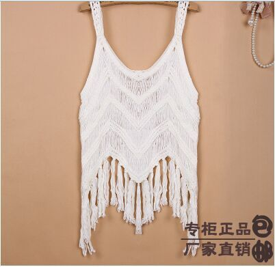 33793dcfe US $15.99 |2015 Japanese openwork crochet sweater summer style blouses  short paragraph Waichuan halter blouse hedging knit fringed vest-in Tank  Tops ...