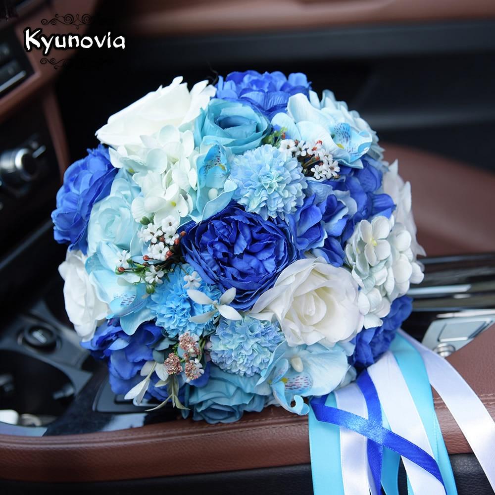 Kyunovia Mint Blue Wedding Bouquet Konstgjord Siden Bride Bouquet - Bröllopstillbehör - Foto 4