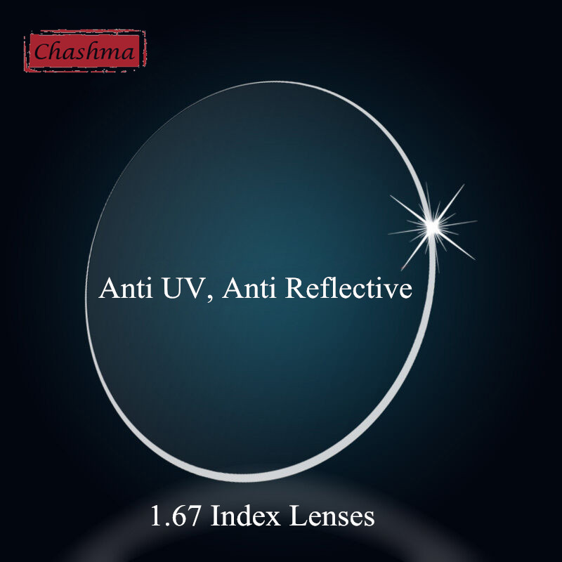 Chashma Anti UV Reflective 1 .67 Index Lens Thin Recipe Optical Prescription Lenses for Eyes
