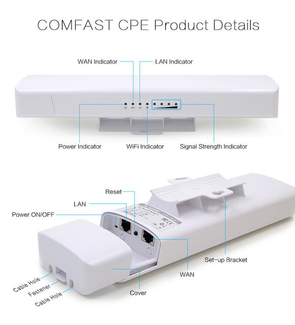 Wi-fi repetidor cobertura de longo wi-fi impermeável ao ar livre antena cpe cpe comfast cf-e214n-v2.0 150 mbps poe sem fio ponto de acesso