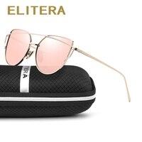 ELITERA Fashion Sunglasses Women Cat Eye Sunglasses Famous Lady Brand Designer Twin Beams Sunglass Coating Mirror