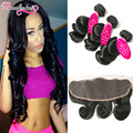 7A Unprocessed Virgin Hair Loose Wave 3 Bundles With Frontal Malaysian Virgin Hair With Closure Loose Wave Lace Frontal Weave