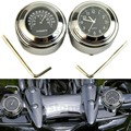 Black 7/8'' 1'' Motorcycle Chrome Handlebar Themometer & Dials Clock Combo