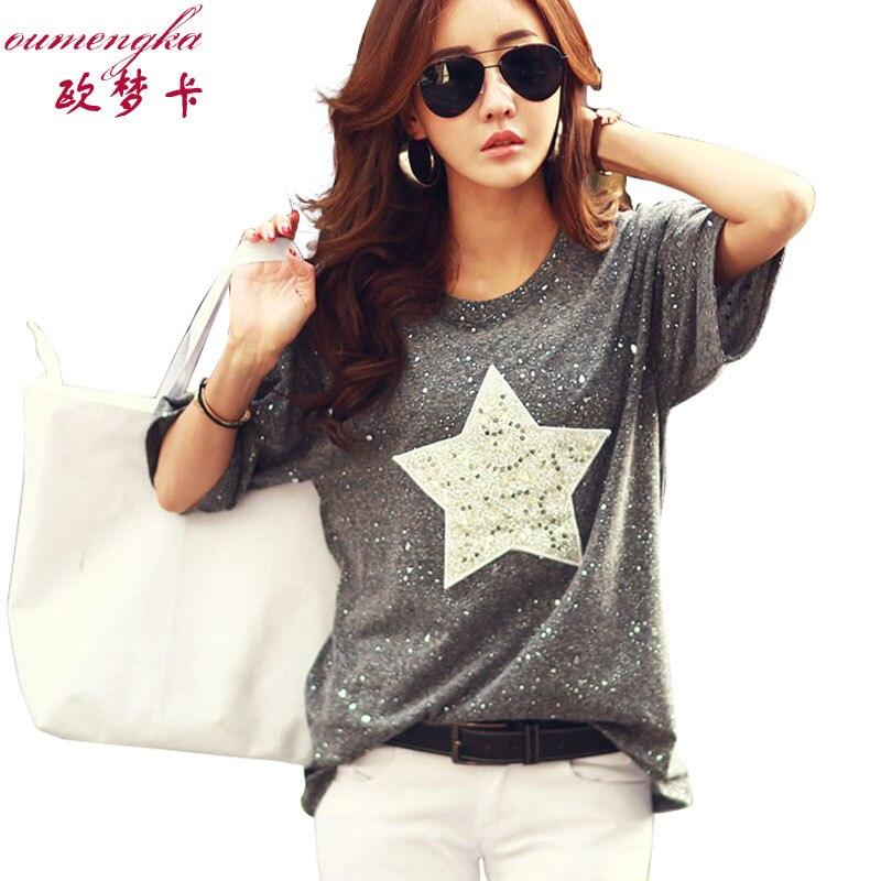OUMENGKA New Fashion T Shirt Women Tops Short Sleeve O-neck Cotton Tees Star Polka Dot Printed Summer Rhinestone Camisetas Mujer