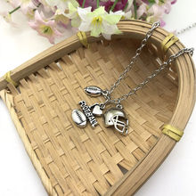 New I Love Football Fencing Helmet Charm Pendant Necklace Alloy Ancient Silver Fashion Women&Men Jewelry Valentine's Day Present european american style ancient silver football sports charm pendant infinity love weaving bracelet women jewelry holiday gift